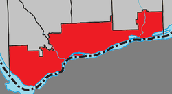 Location of Gatineau (red) with adjacent municipalities.