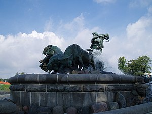 Grendel's mother - The Gefion Fountain in Copenhagen, Denmark by Anders Bundgård, 1908.
