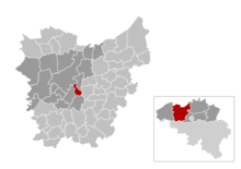 Location of Melle in East Flanders