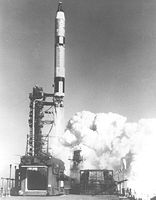 Start of the Gemini GT-2 mission