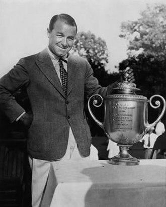 Gene Sarazen - Sarazen with the PGA Championship trophy in 1939