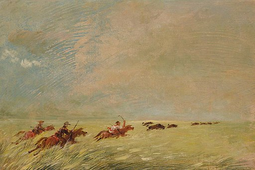 George Catlin - Bogard, Batiste, and I Chasing Buffalo in High Grass on a Missouri Bottom - 1985.66.486 - Smithsonian American Art Museum