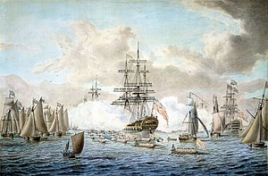 Fleet review (Commonwealth realms) - King George III reviewing the Fleet at Spithead, 1773