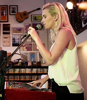 Broods - Georgia Nott at Fingerprints Music in Long Beach, California on 30 June 2016.