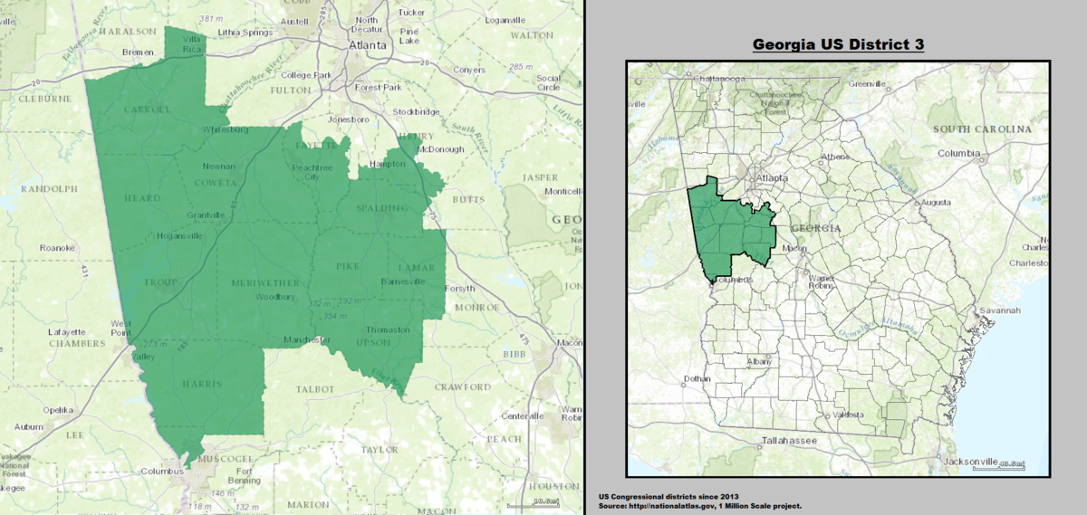 Map Of Georgia Voting Districts.Georgia S 3rd Congressional District Wikipedia