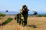 Georgian special forces and Ukrainian Infantry Marines advance after insertion by UH-60 Black Hawk helicopters.jpg