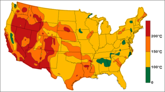Geothermal energy in the United States - Estimated subterranean temperatures at a depth of 6 kilometers