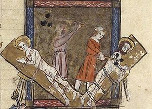 "Gervasius and Protasius - ""The martyrdom of Saints Gervase and Protase,"" from a 14th-century manuscript."