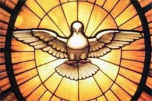 A dove, symbolizing the Holy Spirit, who is be...