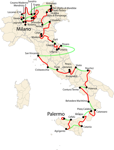 Map of Italy showing the path of the race, starting in the island of Sardinia to the south of the Italian mainland and heading north through the country to end in Milan