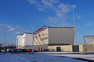 Globe Arena (football stadium) - Peter McGuigan stand with the West stand to the right