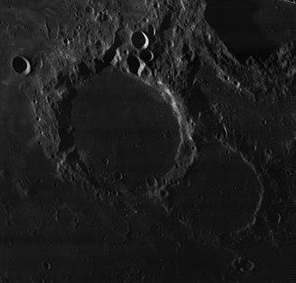 Goddard (crater) - Oblique Lunar Orbiter 4 image of Goddard (large crater at left) and Ibn Yunus (right)