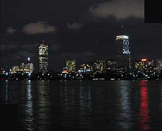 "Prudential Tower - Prudential Tower showing the ""GO SOX"" light pattern in support of the Boston Red Sox"