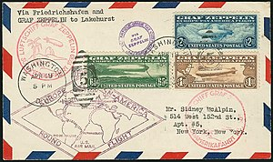 1930 Graf Zeppelin stamps - Mail carried aboard the Graf Zeppelin airship bearing three U.S. Graf Zeppelin airmail stamps, first issued in Washington DC, April 19, 1930