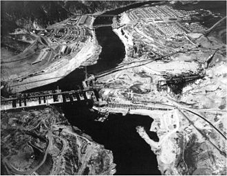 Grand Coulee Dam - The east-side cofferdam after the west base was complete