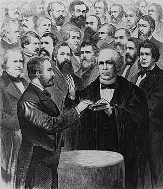 Wilson standing behind Grant at Grant's second Inauguration March 4, 1873 Grant-Chase-1873.jpg