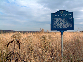 "Wea - ""The Wea Plains,"" a historical marker near the ghost town of Granville in Tippecanoe County, Indiana"