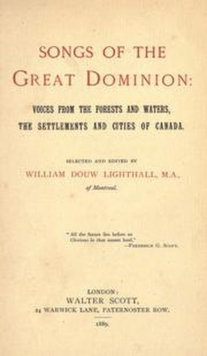 Songs of the Great Dominion - Cover of 1889 edition