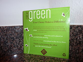 "Greenwashing - Hotel ""greenwashed"" laundry card"
