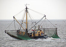 Photograph of a crab fishing vessel at sea