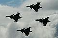 Gripen 4-ship at Malmen 2012 Airshow (8415863629).jpg