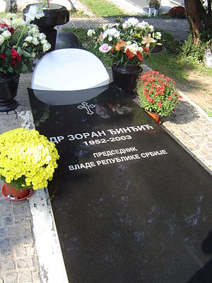 Belgrade New Cemetery - Tomb of Zoran Đinđić at the Alley of Distinguished Citizens
