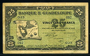Guadeloupe franc - Guadeloupe 25 Francs banknote of 1942