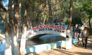 Huehuetenango Department - Bridge over the San Juan River near its source, which is one of the principal tourist attractions in the department.