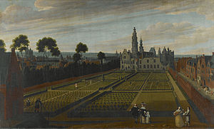 Henry III of Nassau-Breda - Guilliam van Schoor (landscape) and Gillis van Tilborch (figures). The Palace of Nassau in Brussels. 1658, Royal Museums of Fine Arts of Belgium