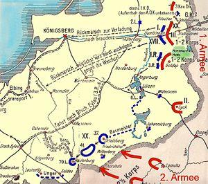Battle of Gumbinnen - Map of the battle and German retreat.