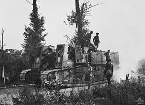 Second Battle of the Somme (1918) - Image: Gun Carrier Miraumont August 1918 AWM H04522