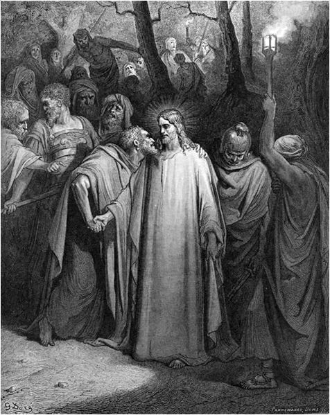 File:Gustave Dore - Judas betrays Jesus with a kiss.jpg