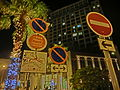 HK DB Discovery Bay 香港愉景灣酒店 Auberge Hotel night garden traffic signs view facades June-2014.JPG