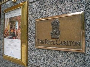 The Ritz Carlton logo at the former Hong Kong ...