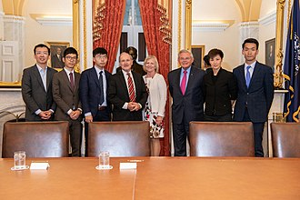 Menendez with Hong Kong activists who have become prominent figures in the 2019-20 Hong Kong protests HK activists at the U.S. Senate Foreign Committee.jpg