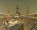 HMS Courageous in Dry Dock, at Rosyth. Winter. Art.IWMART633.jpg