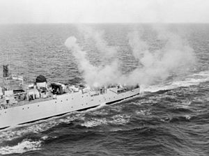HMS Grenville (R97) - Grenville firing her Limbo mortar after conversion to an ASW frigate
