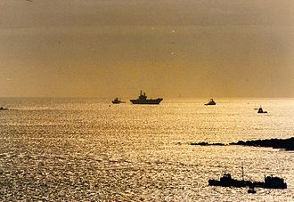 HMS Hermes (R12) - This photo was taken from Plymouth Hoe. Hermes is seen here approaching Plymouth Sound
