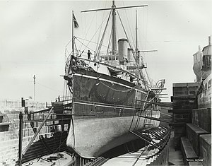 HMS Royal Arthur in drydock Sydney.jpg