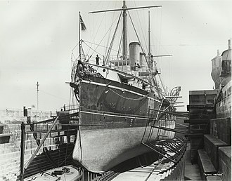 Edgar-class cruiser - The bow of HMS Royal Arthur while drydocked in Sydney.