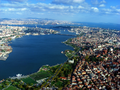 The Golden Horn, looking from upstream to downstream (i.e. from northwest to southeast), toward the Bosphorus.
