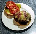 Hamburger, Open Face, White Plate.jpg