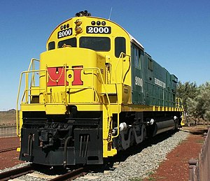 Hamersley & Robe River railway - A retired Hamersley Iron Alco C628 locomotive at 7 Mile Yard, Dampier in July 2003