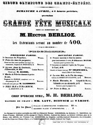 Cirque d'Été - Handbill for the concert on 6 April 1845