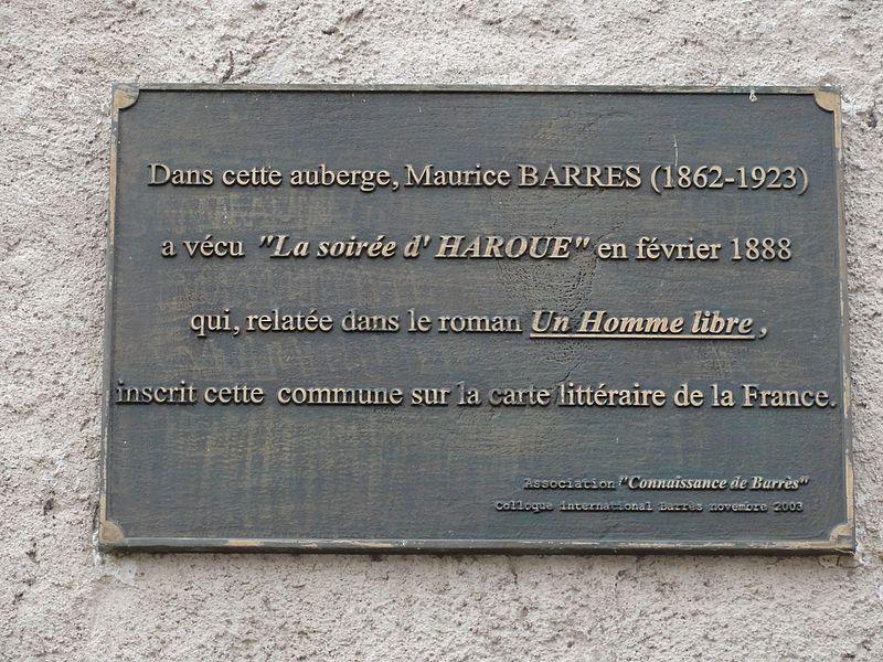 Haroué (M-et-M) auberge séjour Maurice Barrès, plaque