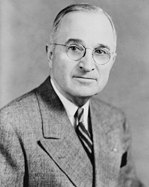 Gallup's most admired man and woman poll - Image: Harry S Truman, bw half length photo portrait, facing front, 1945 crop