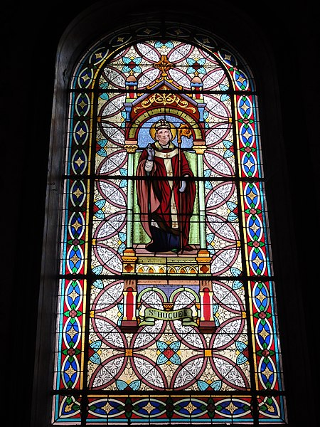 Haspres (Nord, Fr) église, vitrail Saint Hugues