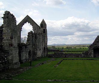 Haughmond Abbey - Breidden and Middletown Hills seen across the little cloister.