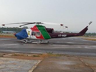 Vijayawada International Airport - Helicopter stationed on ground at Gannavaram (Vijayawada) Airport.