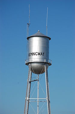 Water tower in downtown Hemingway